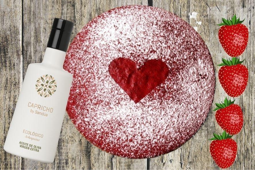 Tarta de San Valentín casera con fresas