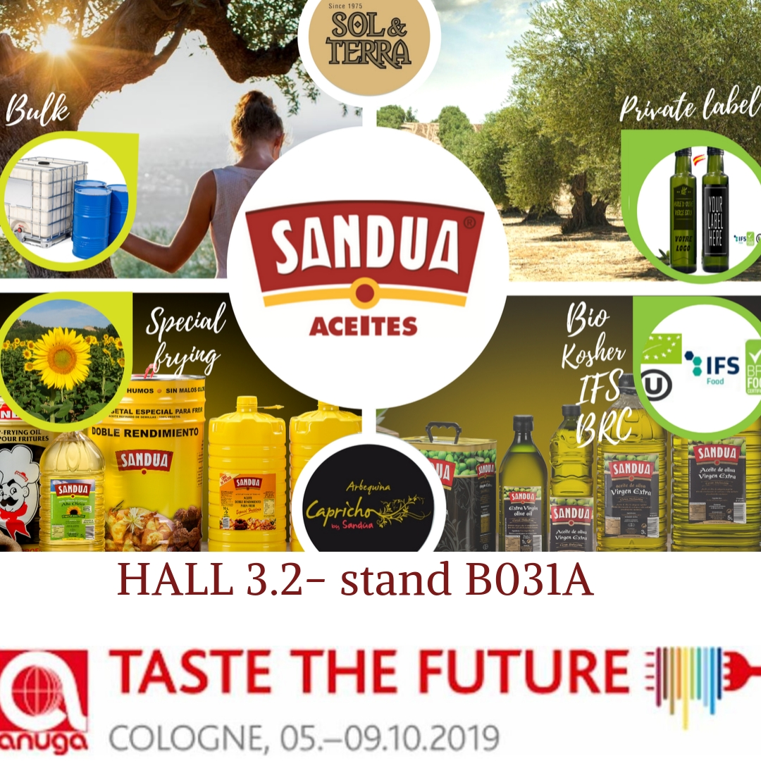 Aceites Sandúa will be in ANUGA, the most important trade fair in the field of food and beverages